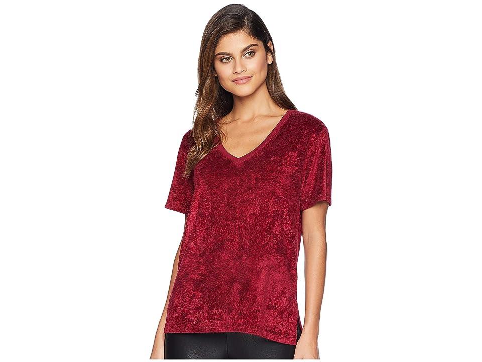 Michael Stars Velvet Short Sleeve V-Neck Slouchy Tee (Pinot) Women