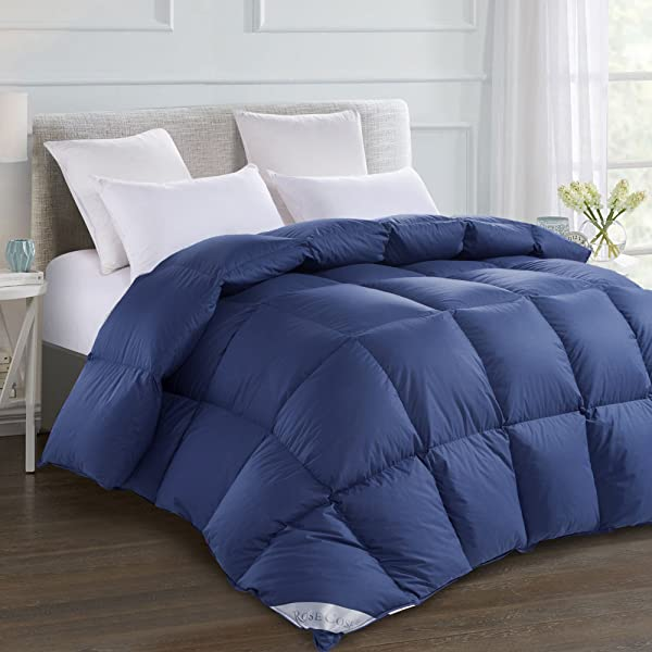 ROSECOSE Luxurious Goose Down Comforter King Size Duvet Insert All Seasons Hypo Allergenic 1200 Thread Count 750 Fill Power 100 Cotton Shell Down Proof With Tabs King Navy Blue