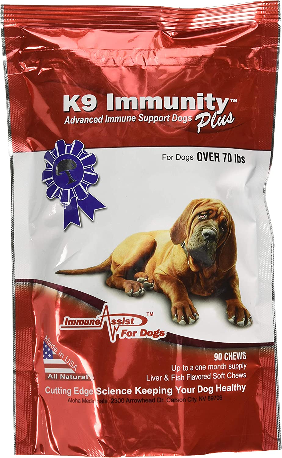 K9 Immunity Plus w / Transfer Factor, Liver and Fish Flavour Chew for Dogs 3070 Lbs (13.6 Kg 31.8 Kg) e Over 70 Lbs (31.8 Kg)