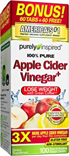 Purely Inspired Apple Cider Vinegar + Green Coffee Extract, Supplements Weight Loss, 100 Capsules