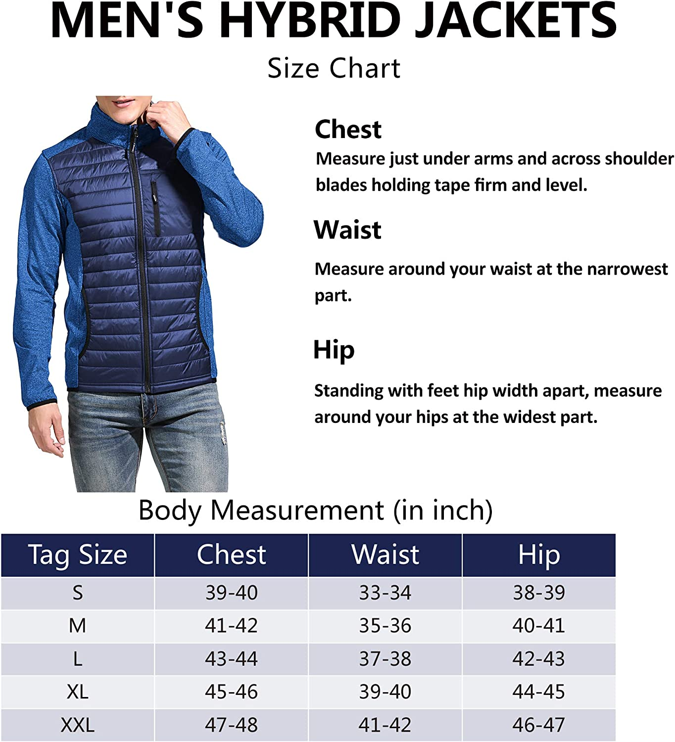 Men's Insulated Hybrid Hiking Jacket, Lightweight Thermal Running Jacket Quilted Outerwear Jacket