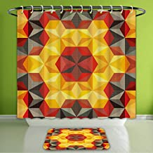 Waterproof Shower Curtain and Bath Rug Set Modern Art Psychedelic Design with Geometric Kaleidoscope Diagonal Fractal Star Bath Curtain and Doormat Suit for Bathroom Extra Wide Size 78
