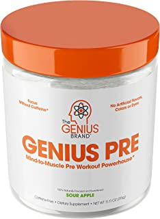 Genius Pre Workout Powder – All Natural Nootropic Preworkout & Caffeine Free Nitric Oxide Booster w/Beta Alanine & Alpha GPC | Boost Focus, Energy & NO | Muscle Builder Supplement –Sour Apple – 20SV