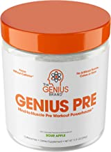 Genius Pre Workout Powder – All Natural Nootropic Preworkout & Caffeine Free Nitric Oxide Booster w/Beta Alanine & Alpha G...