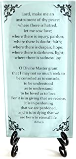 Lifeforce Glass The Prayer of St. Francis Inspirational Glass Plaque. Beloved Prayer Provides Encouragement for All. Includes Folding Easel Seafoam.