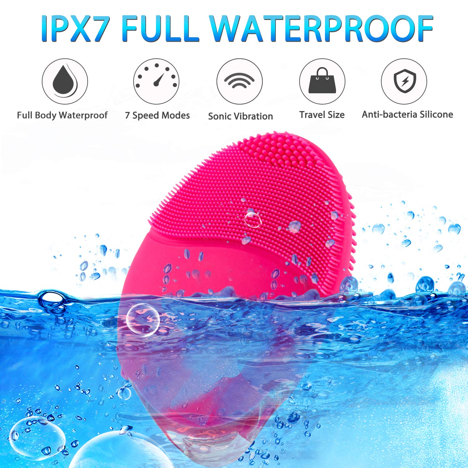 Facial Cleansing Brush, House Envy Sonic Face Brushes, Rechargeable Electric Cleanser Brush Silicone for Deep Cleaning, Removing Blackhead and Massage : Beauty & Personal Care