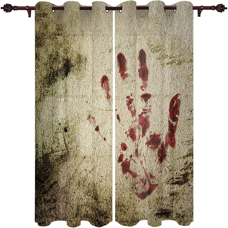 Window Curtains for Philadelphia Mall Bedroom Grommet Vintage Red Handprint Sheer Max 75% OFF