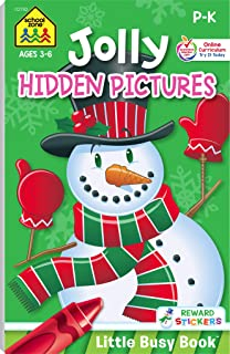 School Zone - Jolly Hidden Pictures Workbook - Ages 3 to 6, Preschool to Kindergarten, Holiday, Christmas, Picture Puzzles, Search & Find, Stickers, and More (Jolly Little Busy Book™ Series)