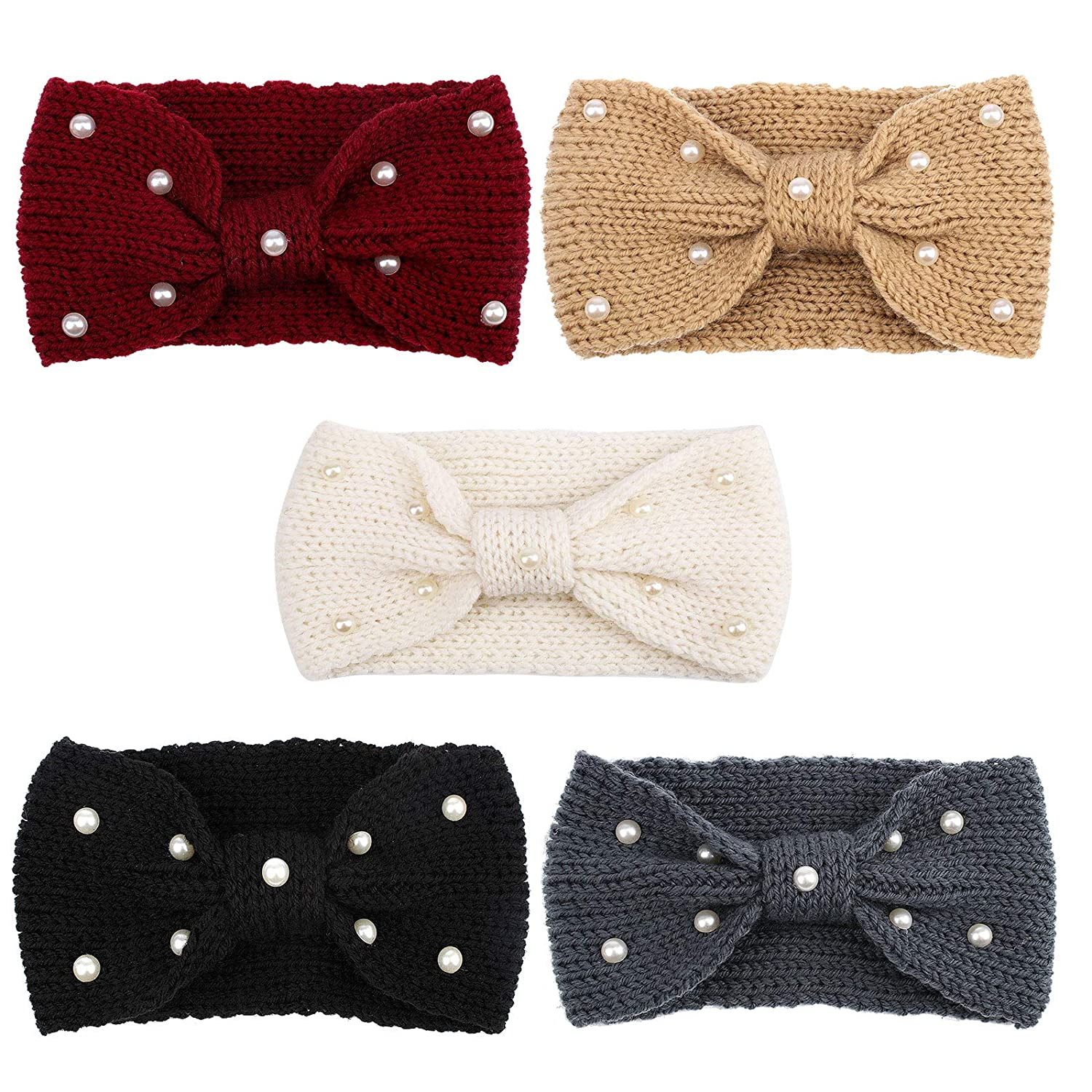 YARIEW 5 Pack Winter Headbands for Women Pearl Knotted Knitted Womens Ear Warmer Crochet Headband Turban Bow Hairband Gifts (Autumn&Winter Colors)