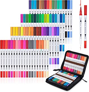 Warmsun 72 Colors Art Coloring Markers Set, Dual Tips Brush Fineliner Color Pens Kit with Case, Water Based Marker for Adu...