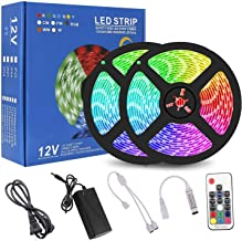 RC 32.8ft 10M Color Changing RGB LED Light StripWaterproof Flexible SMD5050 300LEDs with 44Key IR Remote Control and 12V 5...