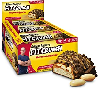 FITCRUNCH Snack Size Protein Bars, Designed by Robert Irvine, World's Only 6-Layer Baked Bar, Just 3g of Sugar & Soft Cake Core (9 Snack Size Bars, Peanut Butter)