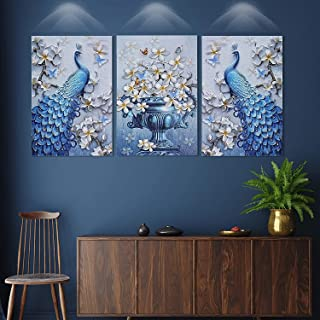 SND Arts Beautiful Peacock Large Set of 3 UV Coated Multi Effect Decorated 6 MM MDF Frame Wall Painting for Living Room Wa...