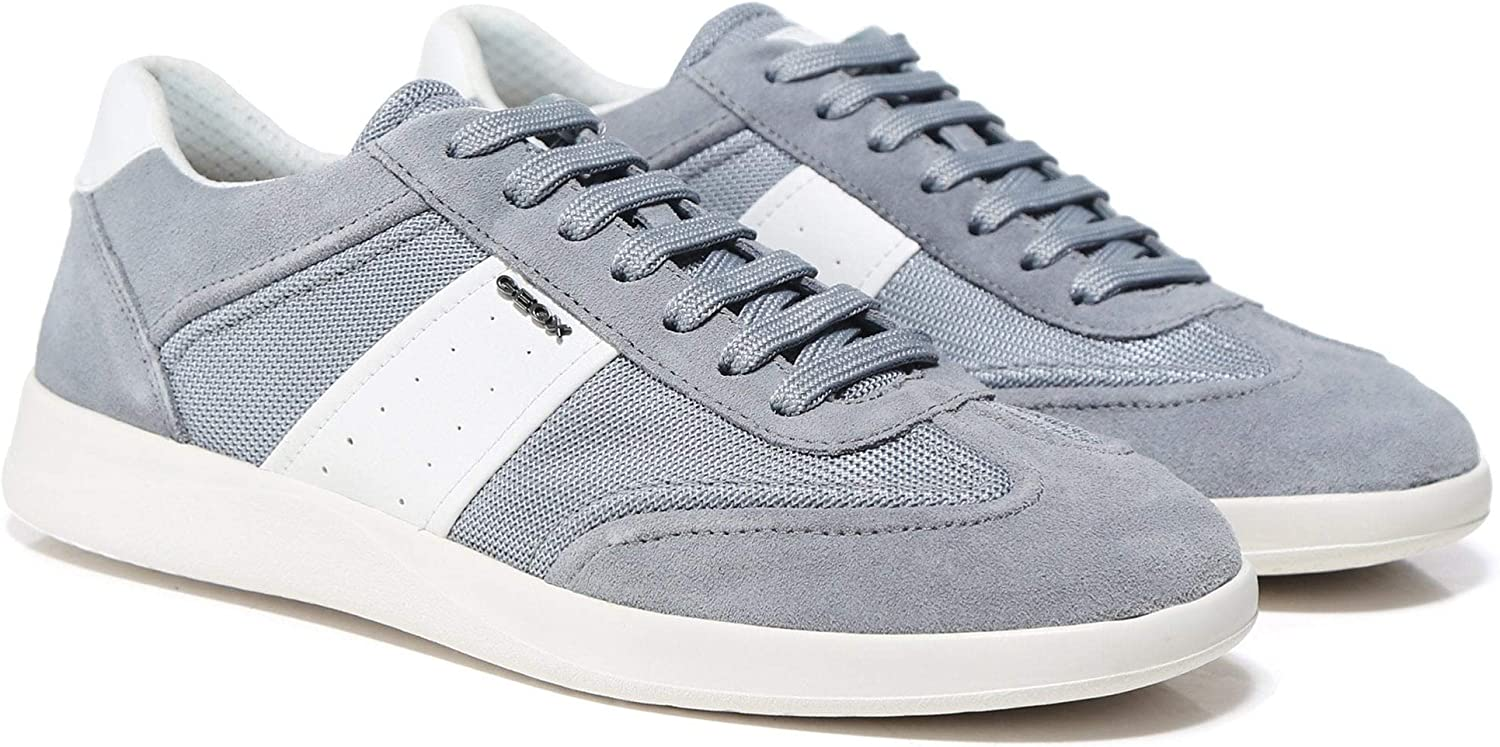 Geox Men's Suede Kennet Trainers Light bluee