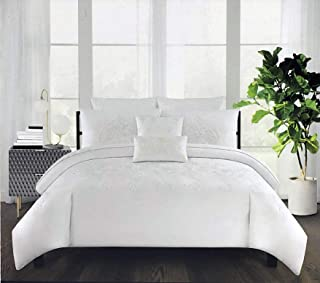 Tahari Home Bedding Full/Queen Size Luxury 3 Piece Duvet Comforter Quilt Cover Shams Set Embroidered White Thread Floral Medallion Pattern on Solid True Snow White - Royal Embroidery