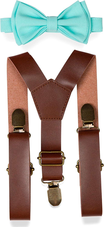Adult Kids Mens Baby Boys 12 inch Dark Brown PU Leather Suspenders /& Black Houndstooth bow tie Page Boy Wedding SET Suspenders SET 8mon