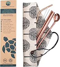 Rose Gold Stainless Steel Straws with Tree of Life Travel Case   Straight, Bent, Smoothie, Spoon Straw, Straw Cleaner and 2 Silicone Tips