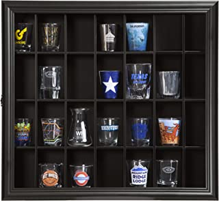 """Gallery Solutions 18x16 Shot Glass Hinged Front Display Case, 18"""" x 16"""", Black"""