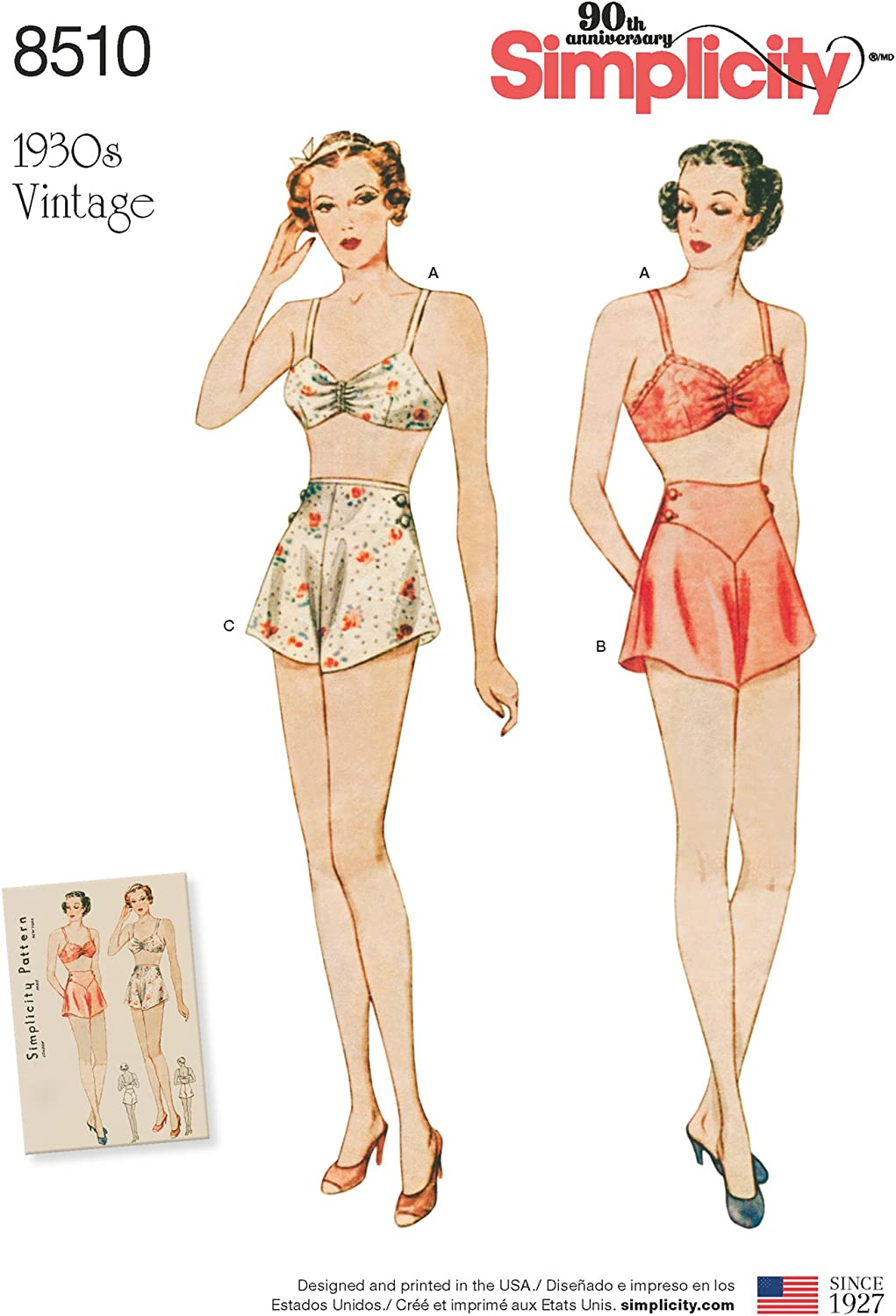 Simplicity Max 81% OFF 1930's Fashion Women's Vintage Bra Max 90% OFF Panties and Sewing
