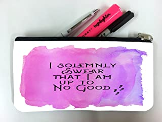I Solemnly Swear That I Am Up To No Good Quote Pink Background Design Print Image Artwork Student Pen Pencil Case Coin Purse Pouch Cosmetic Makeup Bag