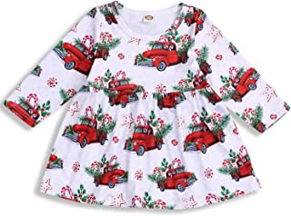 Christmas Dress Toddler Baby Girl Outfit Cartoon Truck Long Sleeve Fall/Winter Clothes