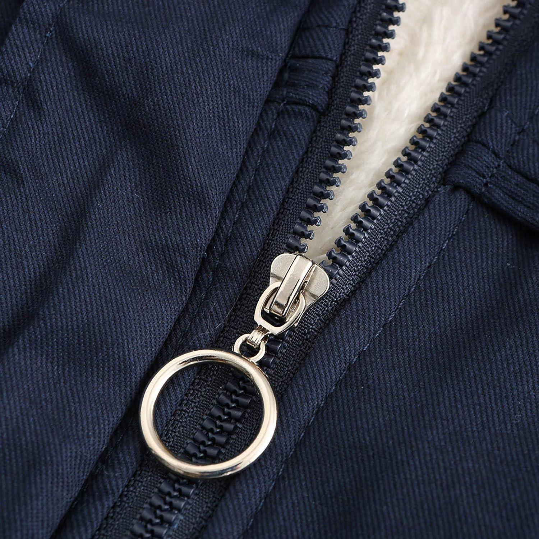 DAIFINEY Damen Mantel Jacke Parka Winterparka mit Kapuze warm gefüttert Wintermantel Winterjacke Winter Coat Outwear 2-blau/Dark Blue