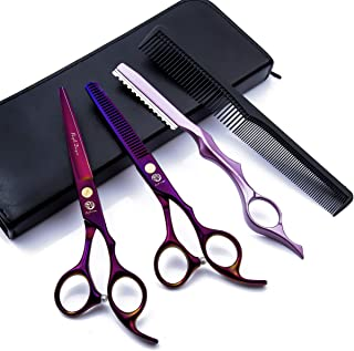 6.0 inch Purple Hair Cutting Scissors Set with Razor, Leather Scissors Case, Barber Hair Cutting Shears Hair Thinning/Texturizing Shears for Professional Hairdresser or Home Use