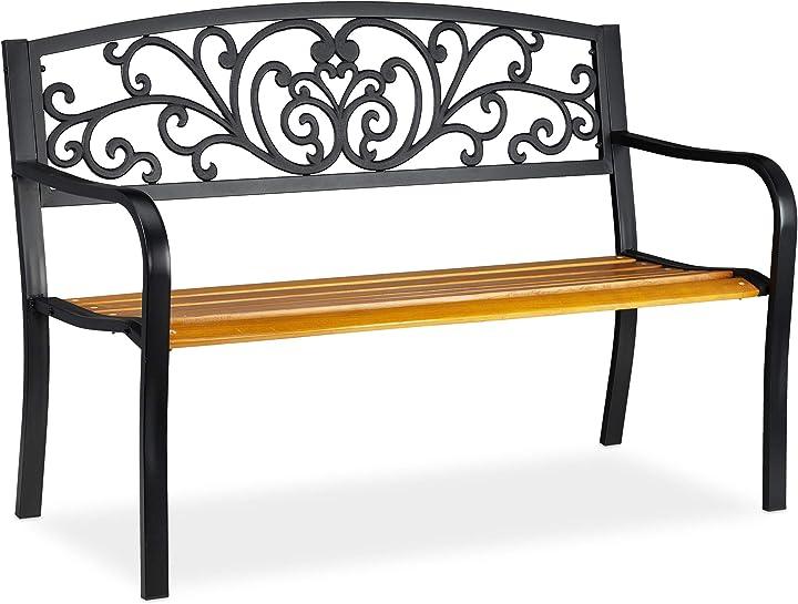 Panchina da giardino, arredo da esterno in legno & metallo, design rustico, hlp: 86,5x127x59 cm 10030990