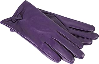 Dents Women's Leather Gloves With Bow Detail And Silk Feel Lining
