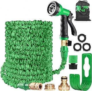 HOMOZE Garden Hose Expandable Hose Pipe 50FT Flexible Magic Hose With Multifunction Spray Gun/Hose Hanger/Storage Bag/Hose Quick Connector, Leak-proof Brass Fittings Expanding Water Hose (Green)