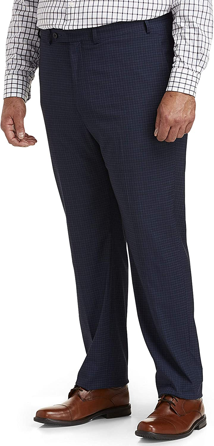 DXL Gold Series Big and Tall Easy Grid Pattern Stretch Dress Pants, Navy