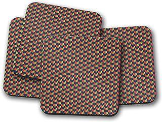 Posavasos con diseño de chevron azul, rojo y verde, posavasos individuales o juego de 4