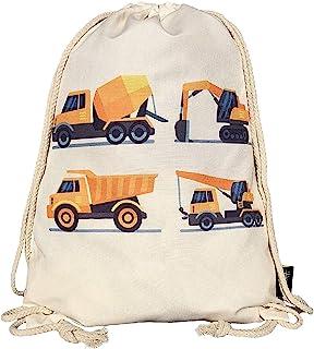 HECKBO Mochila niños, jóvenes | Beige, Estampada con 4 vehículos de construcción | para el jardín de Infancia, la guardería, Viajes y Deporte | Mochila, Bolsa de Juguetes, Bolsa de Deportes