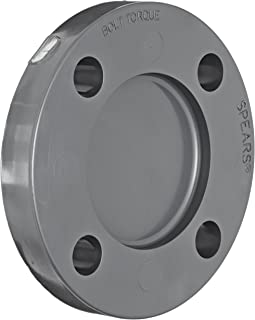 Spears 853 Series PVC Pipe Fitting, Blind Flange, Class 150, Schedule 80, Gray, 6