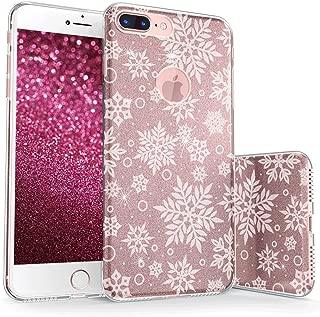 真正的彩色手机壳适用于 iPhone 8 & Plus Sparkase Collection v2 For iPhone 8 Plus Large Snowflakes - White on Rose Gold