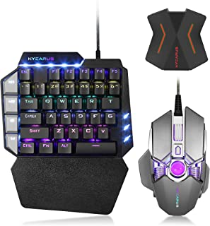 HYCARUS Wired One Handed Mechanical Gaming Keyboard and Mechanical Gaming Mouse Combo with RGB LED Backlit. HYCARUS Keyboa...