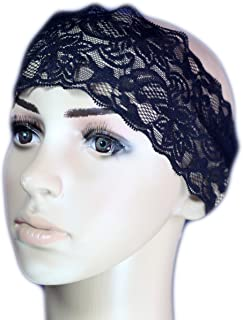 Lace Headband Tichel Hair Snood Bandana Head Scarf Covering headcovering Black / White / Red / Blue (Black)