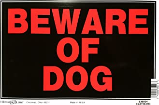Hillman 839924 Beware of Dog Sign, Black and Red Plastic, 8x12 Inches 1-Sign
