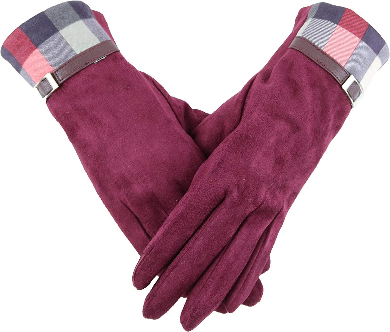 MJScarf Womens Fashion Plaid Splice Windproof Gloves Winter Warm Wear can Touch Screen Phone