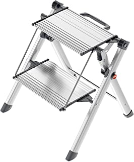 Hailo 4310-100 Mini Comfort Folding Lightweight Aluminum 2-Step Stool, with Built in Handle, Silver