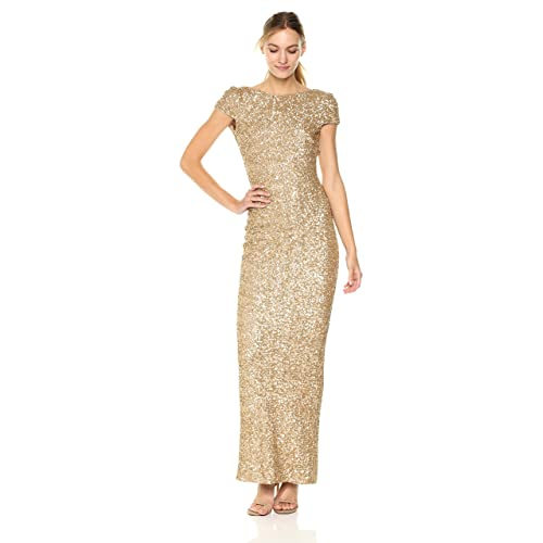 2d8791eb04 Dress the Population Women s Teresa Sequin Cap Sleeve Scoop Back Column Gown