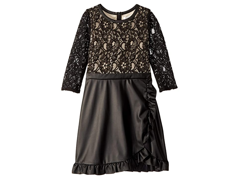 Us Angels Lace and Leather Dress (Big Kids) (Black) Girl