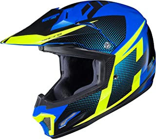 HJC Unisex Child Off-Road Helmet (Hi-Viz Yellow/Blue/Black, XL)