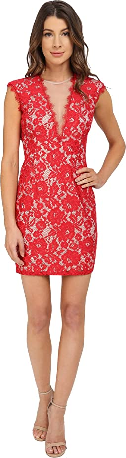 Cap Sleeve Stretch Lace Cocktail Dress