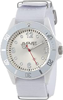 August Steiner Women's and Kids Watch - Champagne Dial with Tachymeter Bezel on White NATO Fabric Strap - AS8061