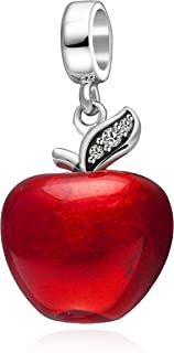 Christmas Apple.925 Sterling Silver Charms, Apple with Transparent Red Enamel and Canary Yellow Cz Stone Fits European Charms Bracelet