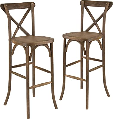 Flash Furniture 2 Pk. HERCULES Series Dark Antique Wood Cross Back Barstool