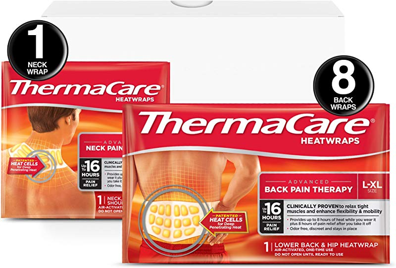 ThermaCare Advanced Back Pain L XL Size And Neck Pain Combo Pack 8 Back Wraps 1 Neck Wrap Heatwraps Up To 16 Hours Of Pain Relief Lower Back Hip Use Neck Wrist Shoulder Use