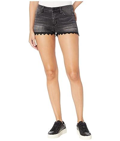 Miss Me Lace Bottom Shorts (Black) Women