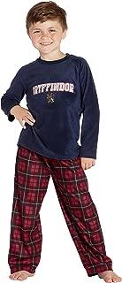 HARRY POTTER Boys Embroidered Gryffindor Lion Microfleece Shirt and Plaid Pants 2 Piece Pajama Set